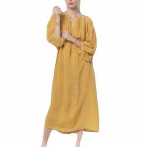 Ann Taylor Linen Blend Puff Sleeve Dress Yellow M